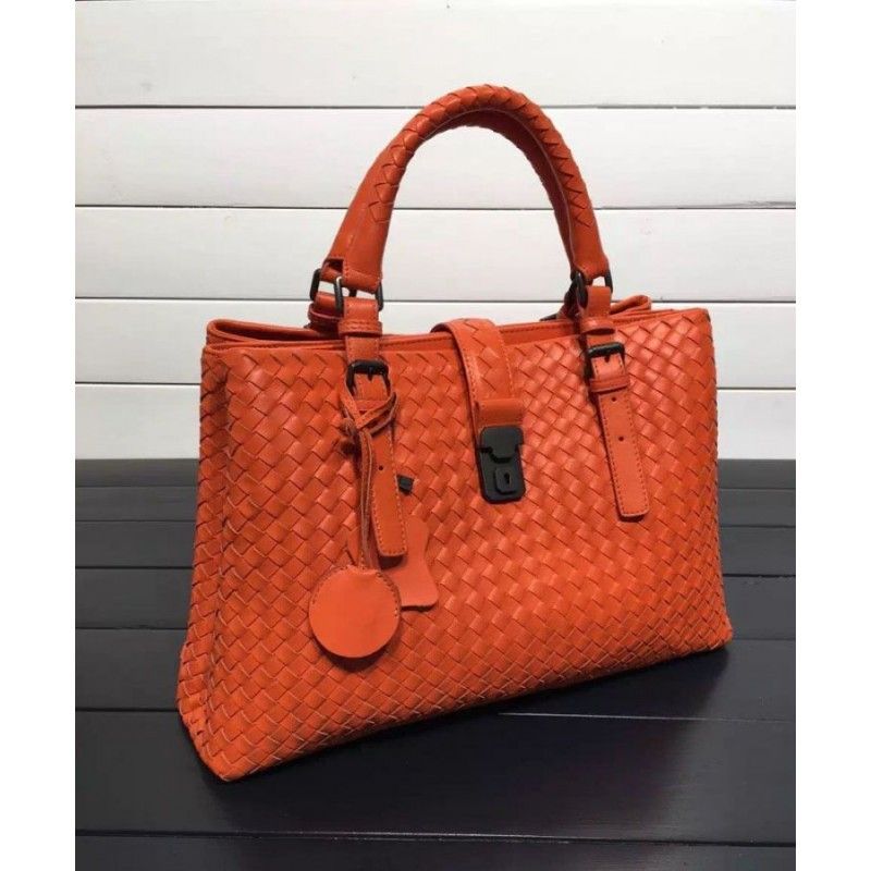 4ed7f654b6c7 ... Bottega Veneta Classic Roma Bag In Barolo Intrecciato Calf Orange ...