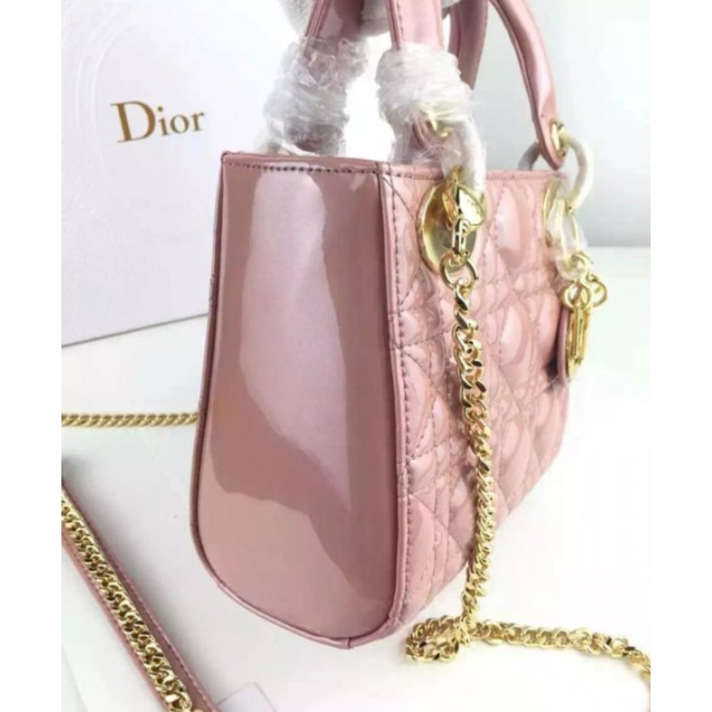 20ff35beb758 ... Christian Dior Quilted Patent Leather Micro Lady Dior Bag Pink ...