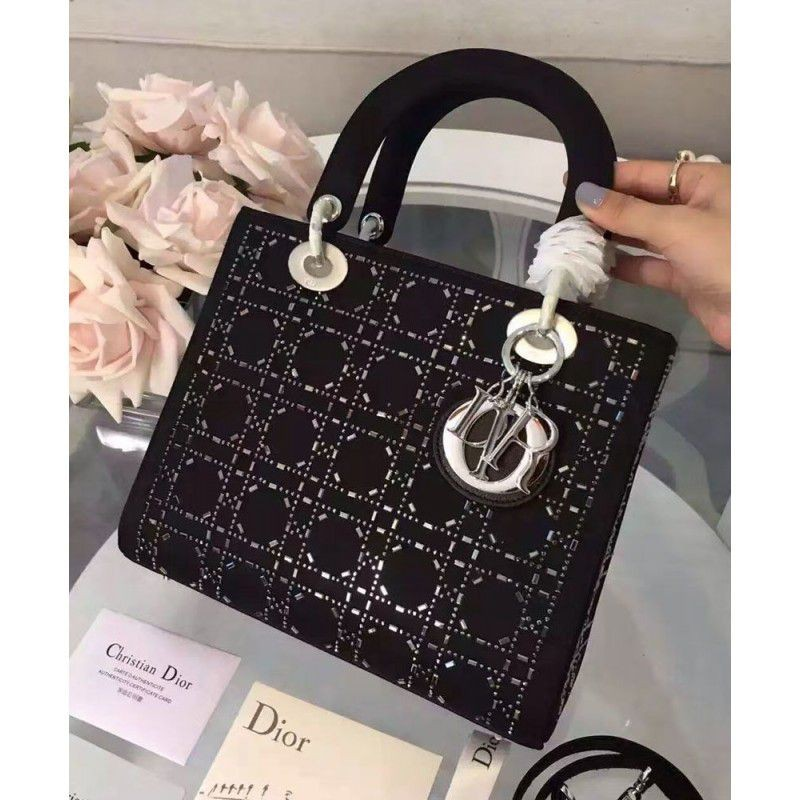 cb1d67771bde Replica Dior Lady Dior Medium Cannage Studded tote Bag Black Outlet ...