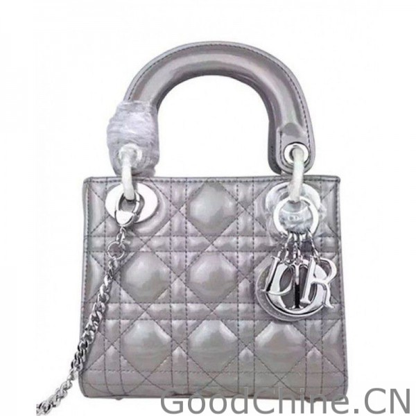 893ff1005eed Replica Dior Quilted Patent Leather Micro Lady Dior Bag Gray Outlet ...
