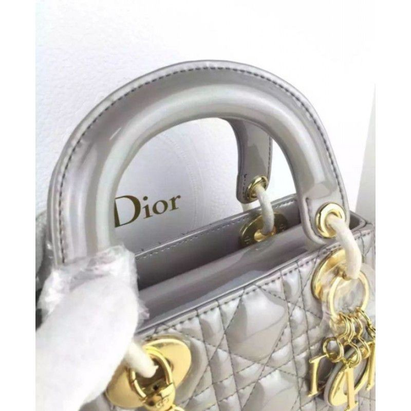 Replica Dior Quilted Patent Leather Micro Lady Dior Bag Gray Outlet ... 9b0c7ee2a2