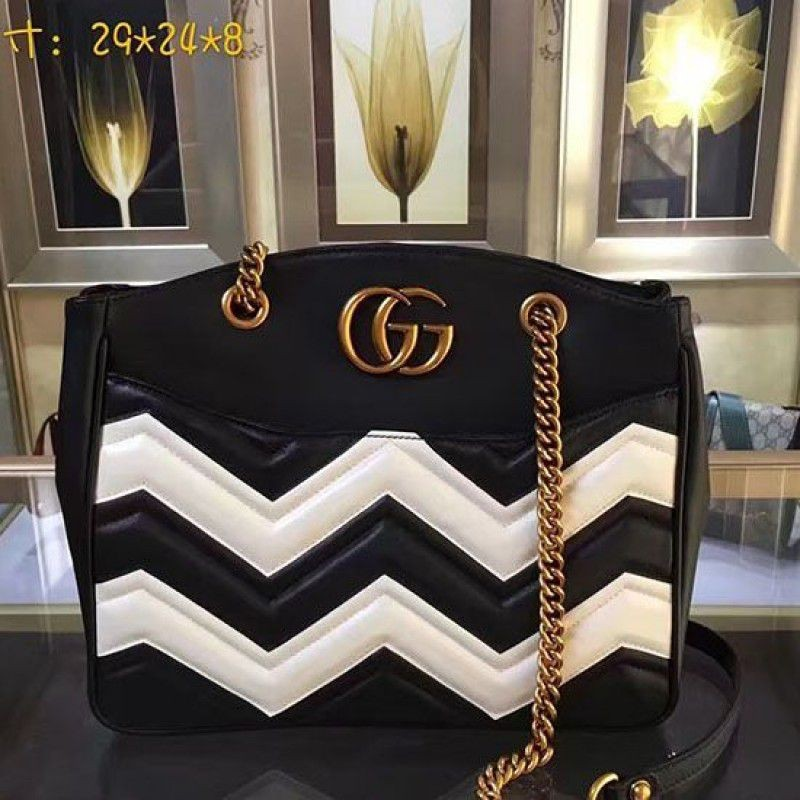 ddb0b016442 Gucci GG Marmont matelasse tote Bag Black and White Original Leather 443501