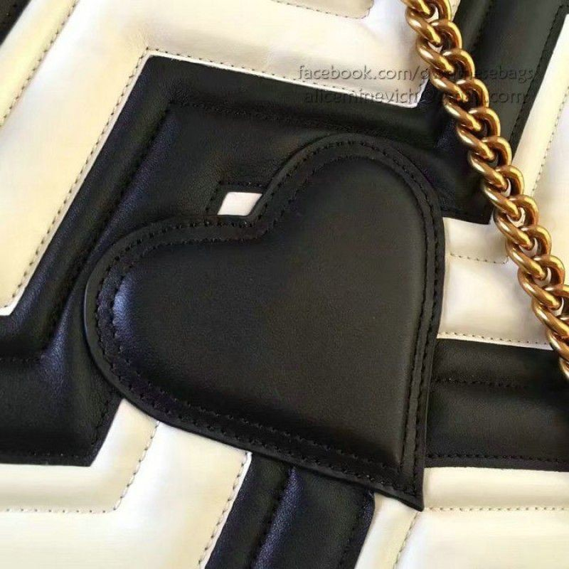 3a373b2fffe ... Gucci GG Marmont matelasse tote Bag Black and White Original Leather  443501 ...