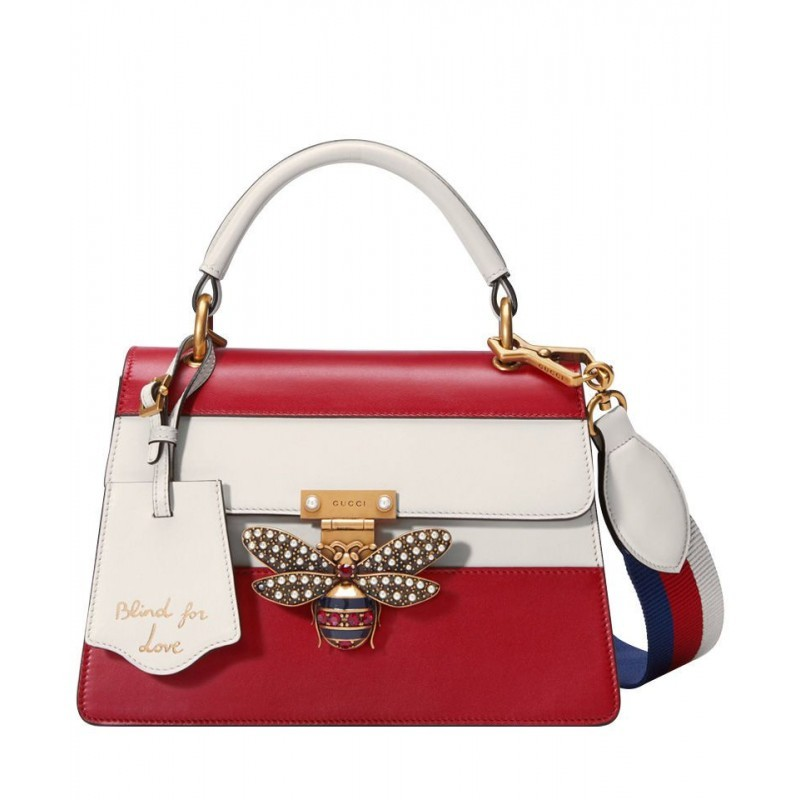 5273bd62405 Replica Gucci Queen Margaret leather top handle bag 476541 Red ...