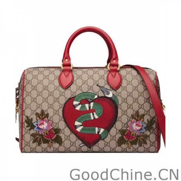 5500ccefcf72 Gucci Limited Edition GG Supreme top handle bag with embroiderie 409527 Red