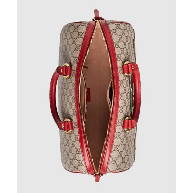 99adc9741dd8 ... Gucci Limited Edition GG Supreme top handle bag with embroiderie 409527  Red ...