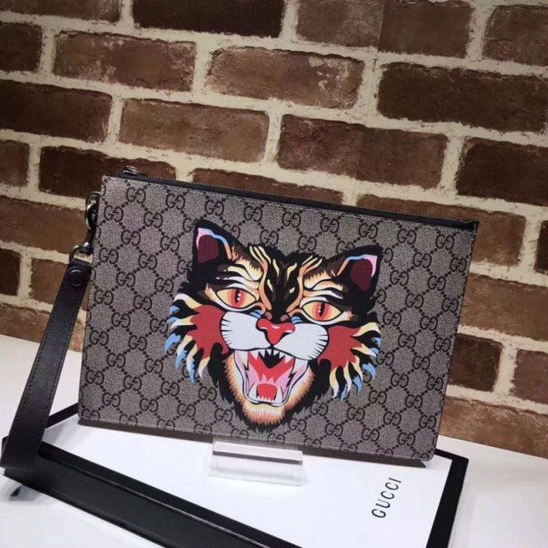 c12c7c8423e8 Replica Gucci Angry Cat Print GG Supreme Pouch 473904 Outlet Online Sale