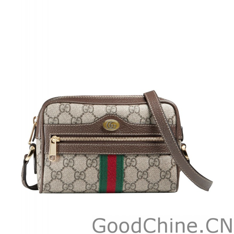 63201235aba Replica Gucci Ophidia GG Supreme mini bag 517350 Dark Coffee Outlet ...