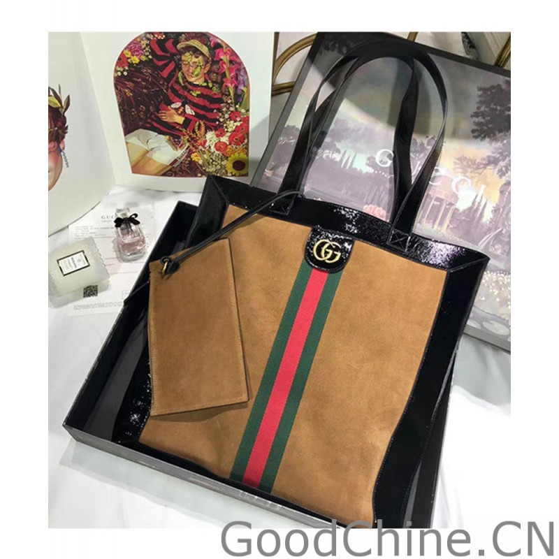 65d155ef61c Replica Gucci Ophidia suede large tote 519335 Coffee Outlet Online Sale