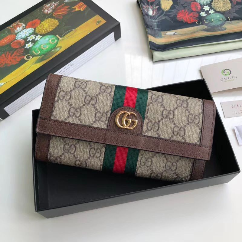 2c08462aff2 Replica Gucci Ophidia GG Continental Wallet 523153 Brown Outlet ...