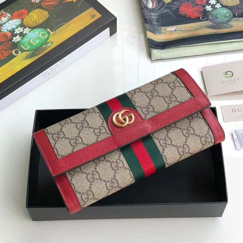 0711c27a56 Replica Gucci Ophidia GG Continental Wallet 523153 Red Outlet Online ...