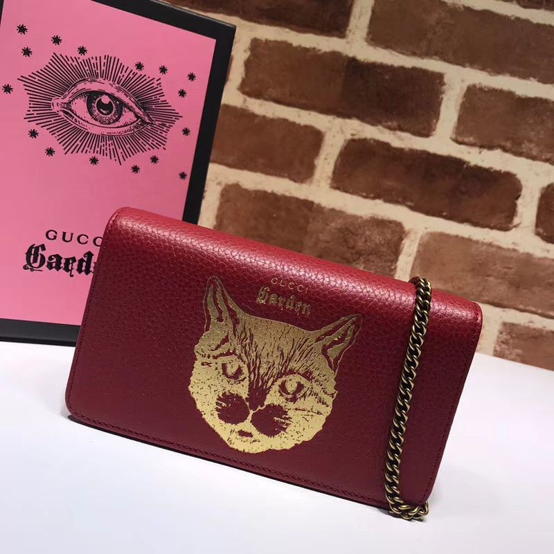 9661b12931a Replica Gucci Garden Cat Woc Chain Bag 521552 Red Outlet Online Sale