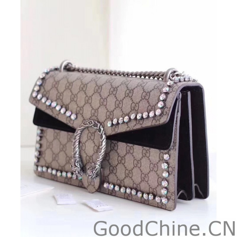 bf4c6aad941 Replica Gucci Dionysus GG Supreme shoulder bag with crystals 400249 ...