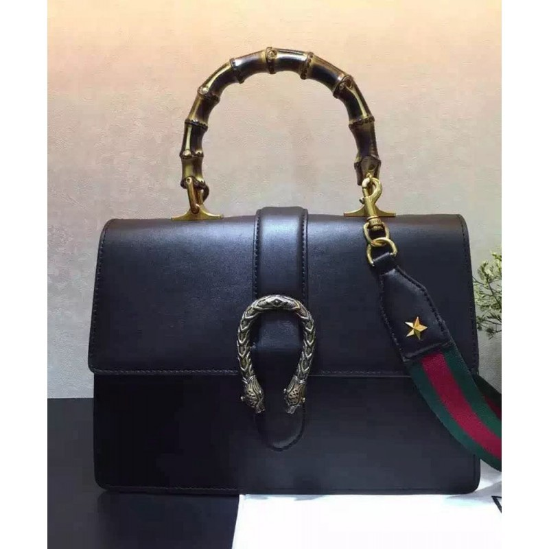 987a18c5b0f Replica Gucci Dionysus Leather Top Handle Bag 421999 Black Outlet ...