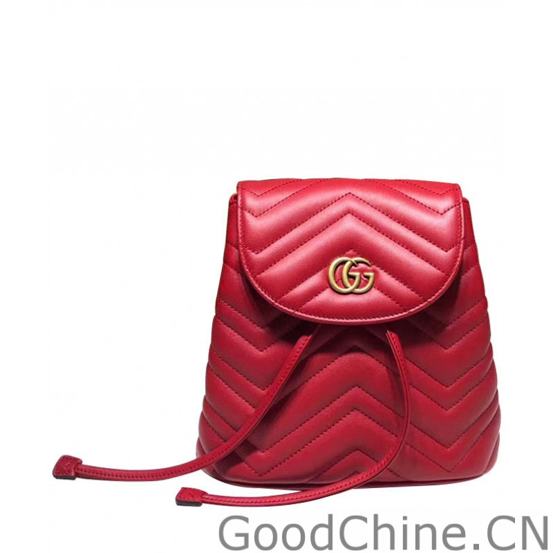 f1de72bd3da Replica Gucci GG Marmont matelasse backpack 528129 Red Outlet Online ...