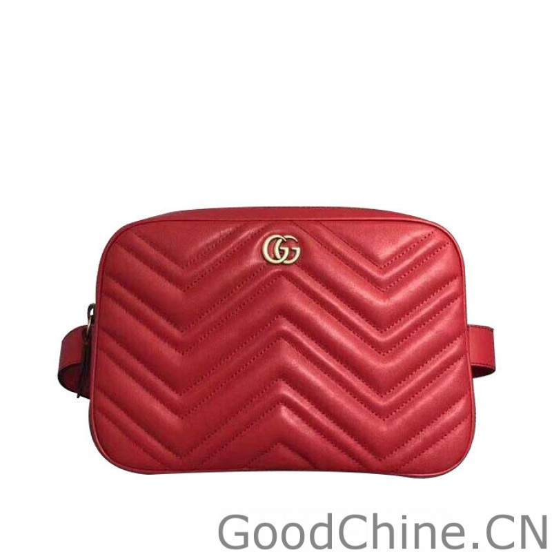 67713ee0071339 Replica Gucci GG Marmont matelasse belt bag 523380 Red Outlet Online ...