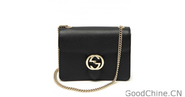 00a1069a580 Replica Gucci Interlocking Chain Leather Cross Body Bag 510304 Black Outlet  Online Sale