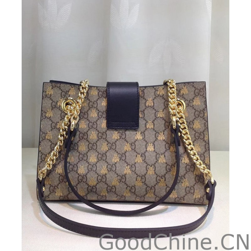 1fe08af93be Replica Gucci Padlock small GG bees shoulder bag 498156 Coffee ...