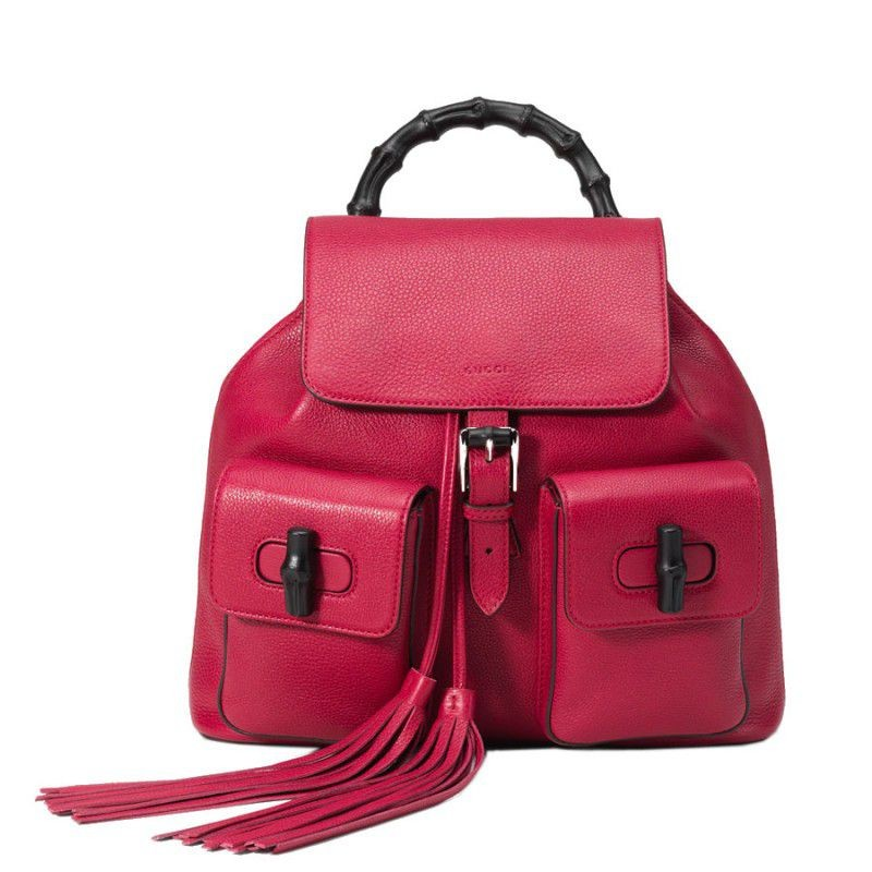c1636cf703e Replica Gucci Bamboo Leather Backpack 370833 A7M0N 5529 Outlet ...
