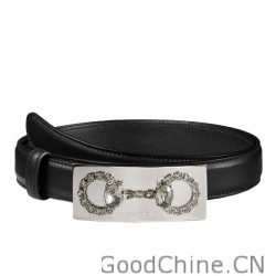 d95337179eb Replica Gucci Thin Leather Belts With Crystal Interlocking G Buckle ...