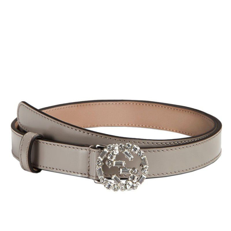 dab4438e6ae Gucci Thin Leather Belts With Crystal Interlocking G Buckle 354380 CLG6N  1480