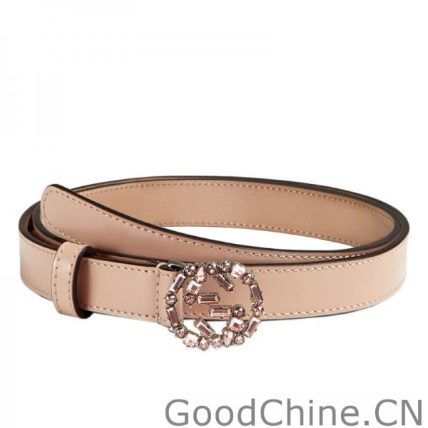 d989bedaa08 Gucci Thin Leather Belts With Crystal Interlocking G Buckle 354380 CLG6N  5763
