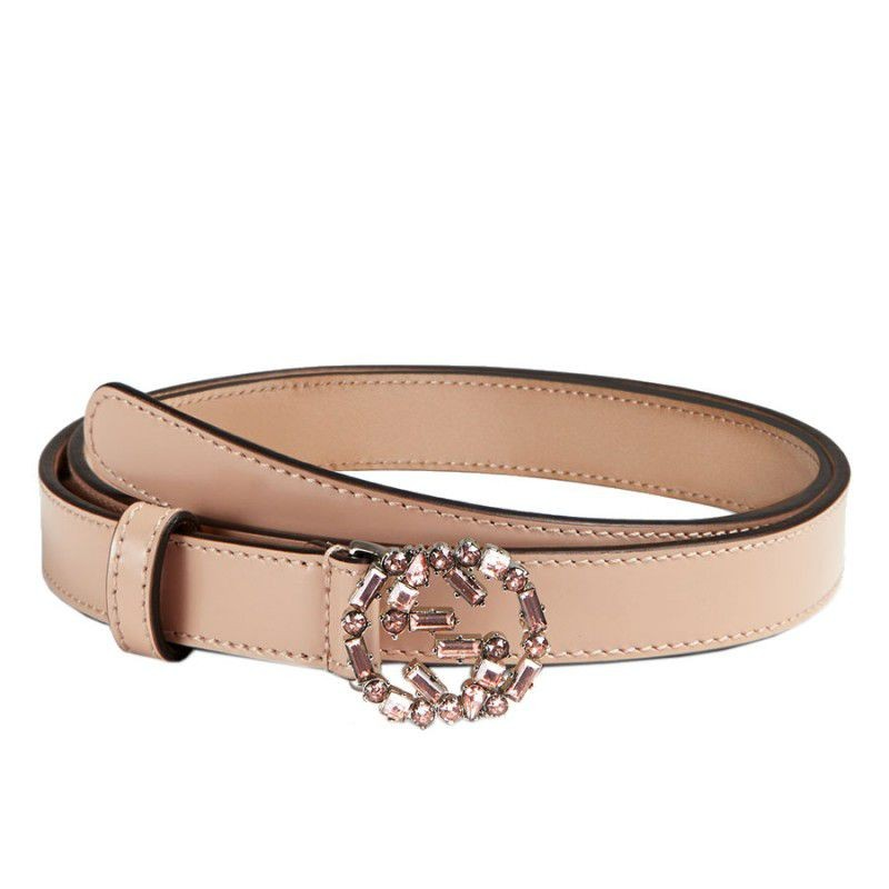 Gucci Thin Leather Belts With Crystal Interlocking G Buckle 354380 CLG6N  5763 c3774bcc8c597