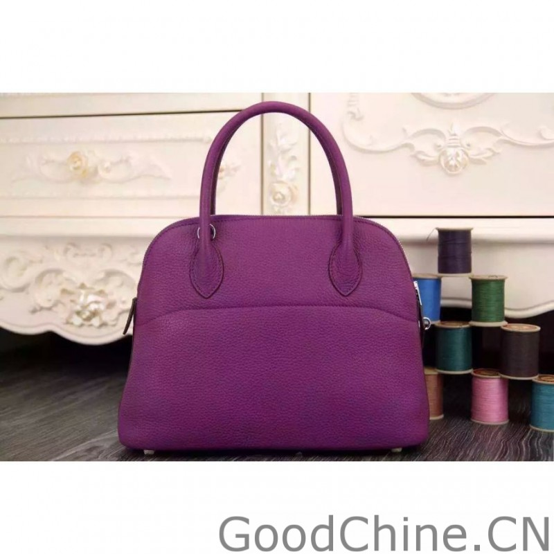 91f11bd86a Replica Hermes Bolide 31 35 Bag In Purple Clemence Leather Outlet ...
