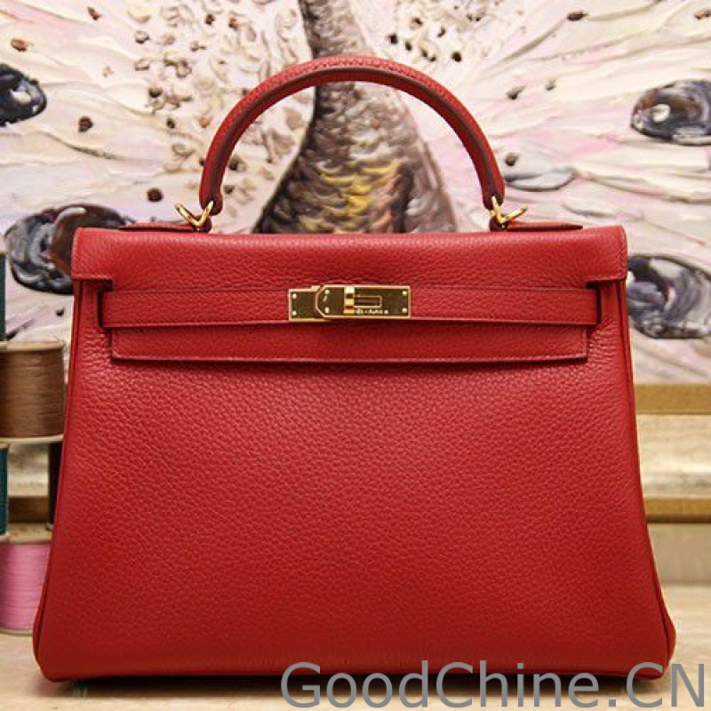 12c8676f85 Replica Hermes Kelly Bag In Red Clemence Leather Outlet Online Sale