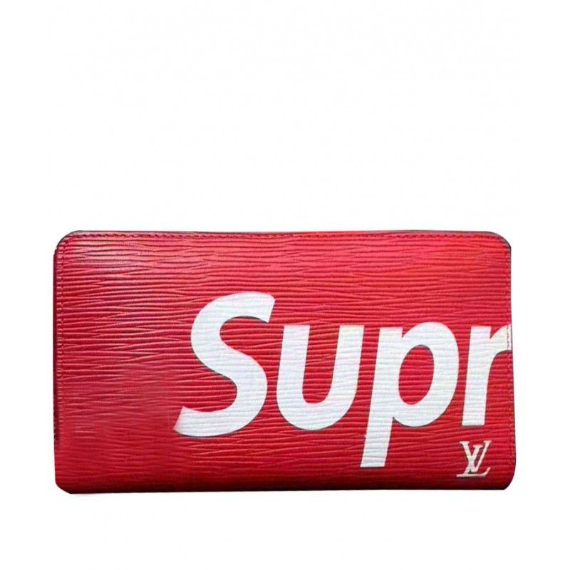 86f89d5eddc Replica Louis Vuitton X Supreme Zipper Wallet Outlet Online Sale