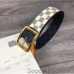 1c06174e2d14 Louis Vuitton M0040Q LV Reverso 40mm Reversible Mens Belt Damier Azur And  Damier Graphite Canvas Gold