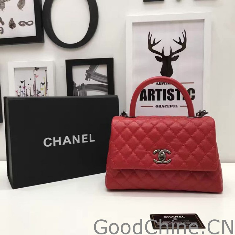e6f9848adb1799 Replica Chanel Coco Grained Calfskin Flap Bag with Lizard Handle ...