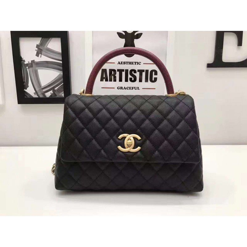 Outlet Borse Chanel.Replica Chanel Coco Handle Bag With Calfskin Handle A92991 Black Outlet Online Sale