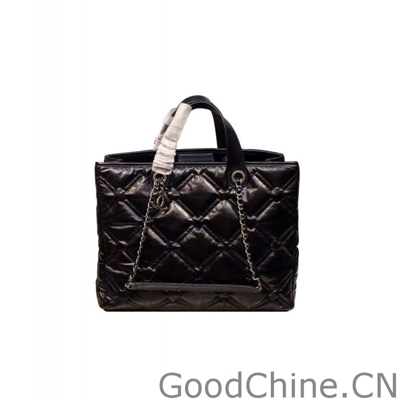 aa13cbbeb8989f Replica Chanel Chesterfield Large Shopping Bag A93605 Black Outlet ...