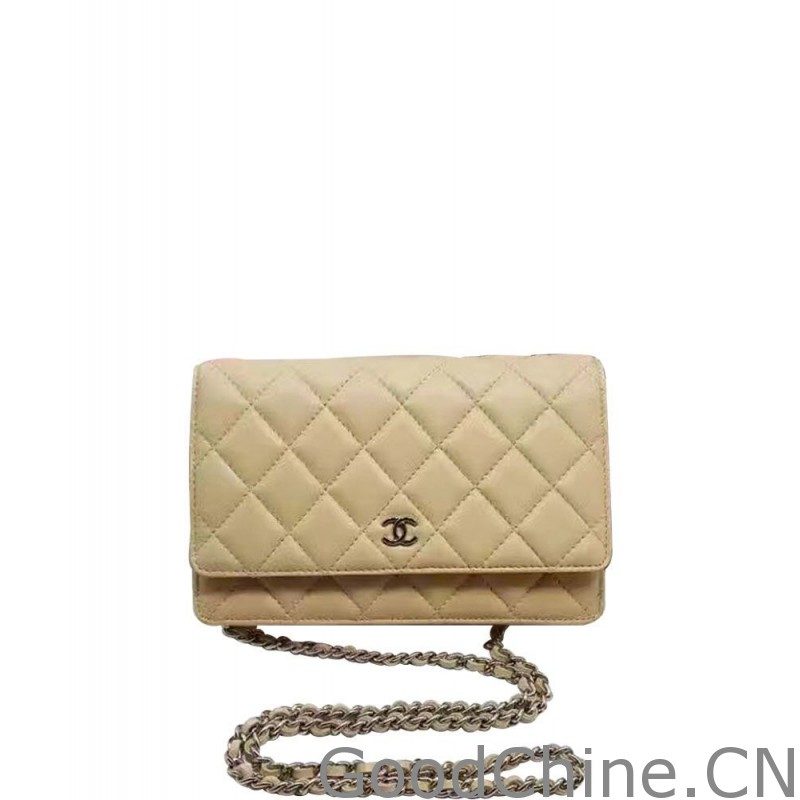 0ab48b3781a1ed Replica Chanel Classic Quilted WOC Wallet on Chain A33814 Apricot ...