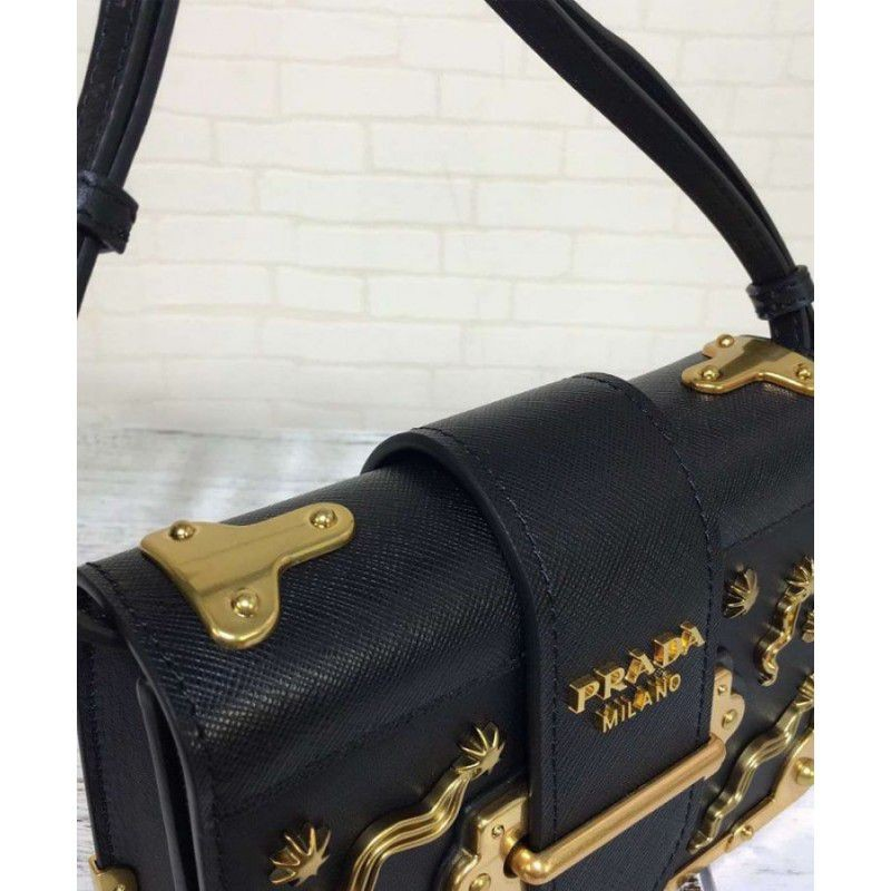 853b06fdb84b Replica Prada Astrology Embellished Velvet Shoulder Bag 1BH018 Black ...