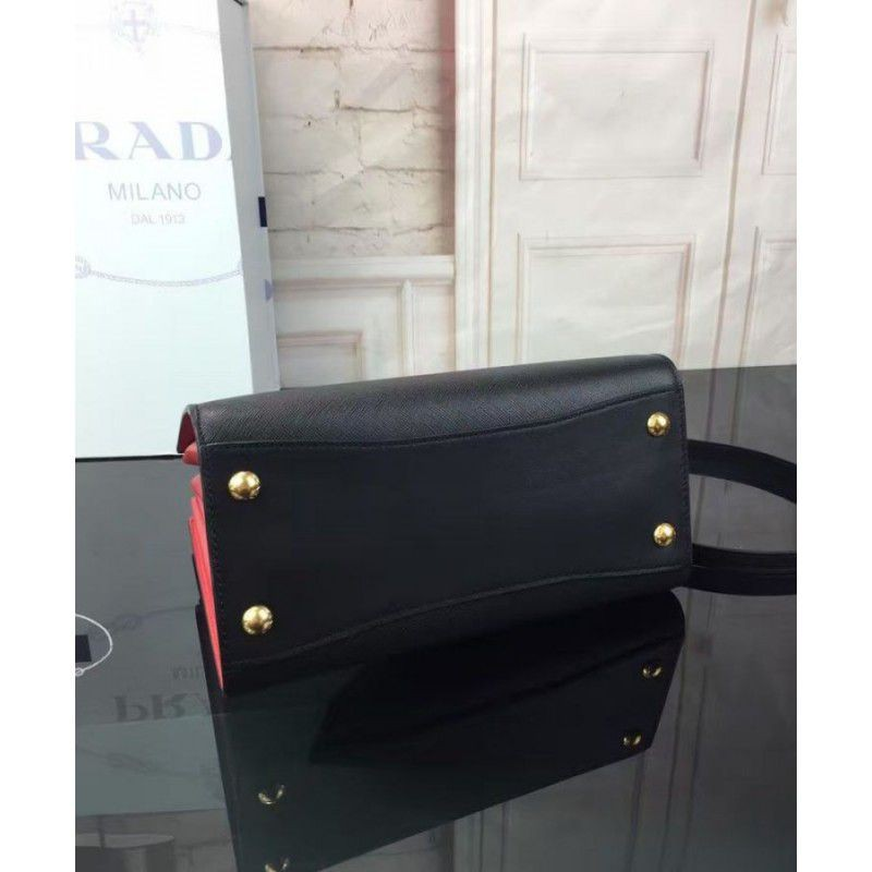 559388782cfb Replica Prada Bibliotheque Leather Tote Bag 1BA050 Black Outlet ...