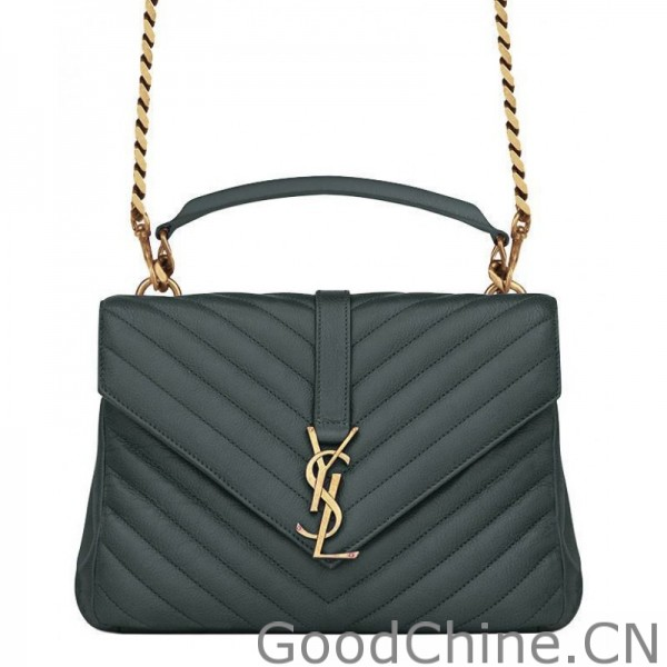 6b07e699321a Replica YSL Classic Medium Monogram Saint Lauren College Bag Green ...